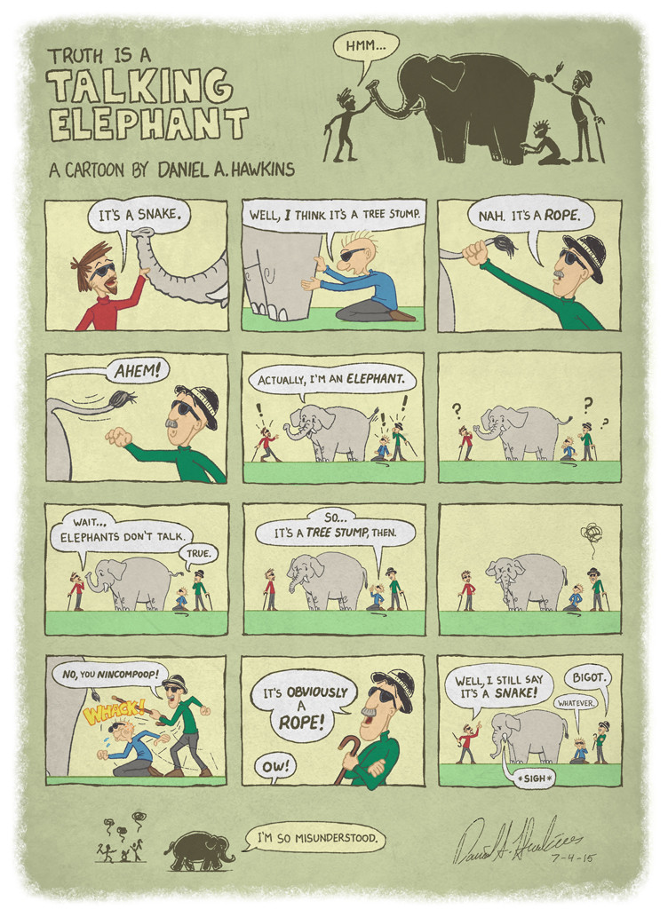 Truth is a Talking Elephant Cartoon